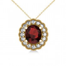 Garnet & Diamond Floral Oval Pendant Necklace 14k Yellow Gold (2.98ct)