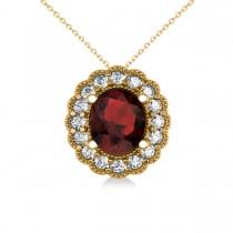 Garnet & Diamond Floral Oval Pendant Necklace 14k Yellow Gold (2.98ct)