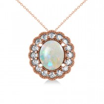 Opal & Diamond Floral Oval Pendant Necklace 14k Rose Gold (2.98ct)