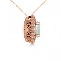 Opal & Diamond Floral Oval Pendant Necklace 14k Rose Gold (2.98ct)
