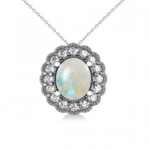 Opal & Diamond Floral Oval Pendant 14k White Gold (2.98ct)