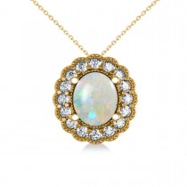 Opal & Diamond Floral Oval Pendant Necklace 14k Yellow Gold (2.98ct)