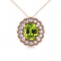 Peridot & Diamond Floral Oval Pendant Necklace 14k Rose Gold (2.98ct)