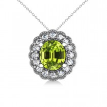Peridot & Diamond Floral Oval Pendant 14k White Gold (2.98ct)