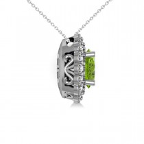Peridot & Diamond Floral Oval Pendant 14k White Gold (2.98ct)