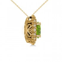 Peridot & Diamond Floral Oval Pendant Necklace 14k Yellow Gold (2.98ct)