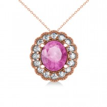 Pink Sapphire & Diamond Floral Oval Pendant 14k Rose Gold (2.98ct)