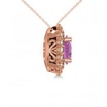 Pink Sapphire & Diamond Floral Oval Pendant 14k Rose Gold (2.98ct)