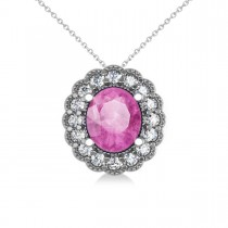 Pink Sapphire & Diamond Floral Oval Pendant 14k White Gold (2.98ct)