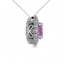Pink Sapphire & Diamond Floral Oval Pendant 14k White Gold (2.98ct)