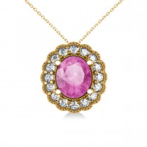 Pink Sapphire & Diamond Floral Oval Pendant 14k Yellow Gold (2.98ct)