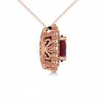 Ruby & Diamond Floral Oval Pendant 14k Rose Gold (2.98ct)