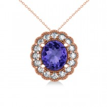 Tanzanite & Diamond Floral Oval Pendant 14k Rose Gold (2.98ct)