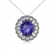 Tanzanite & Diamond Floral Oval Pendant 14k White Gold (2.98ct)