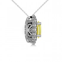 Yellow Sapphire & Diamond Floral Oval Pendant 14k White Gold (2.98ct)