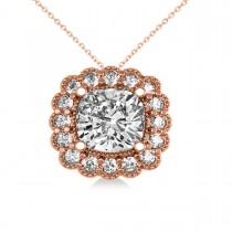 Diamond Floral Cushion Pendant Necklace 14k Rose Gold (2.52ct)