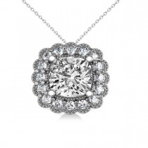 Diamond Floral Cushion Pendant Necklace 14k White Gold (2.52ct)