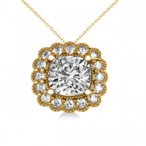 Diamond Floral Cushion Pendant Necklace 14k Yellow Gold (2.52ct)