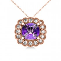 Amethyst & Diamond Floral Cushion Pendant 14k Rose Gold (2.48ct)