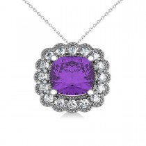 Amethyst & Diamond Floral Cushion Pendant 14k White Gold (2.48ct)