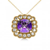 Amethyst & Diamond Floral Cushion Pendant 14k Yellow Gold (2.48ct)