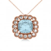 Aquamarine & Diamond Floral Cushion Pendant Necklace 14k Rose Gold (2.41ct)