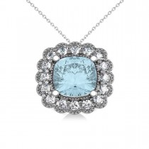 Aquamarine & Diamond Floral Cushion Pendant Necklace 14k White Gold (2.41ct)