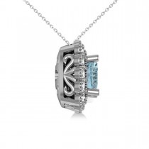 Aquamarine & Diamond Floral Cushion Pendant Necklace 14k White Gold (2.41ct)