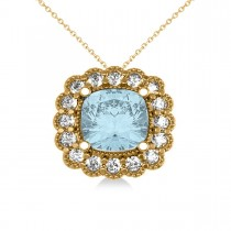 Aquamarine & Diamond Floral Cushion Pendant Necklace 14k Yellow Gold (2.41ct)