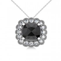 Black Diamond & Diamond Floral Cushion Pendant Necklace 14k White Gold (2.52ct)