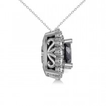 Black Diamond & Diamond Floral Cushion Pendant Necklace 14k White Gold (2.52ct)|escape