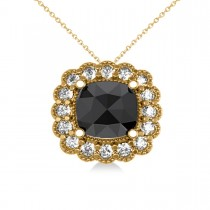 Black Diamond & Diamond Floral Cushion Pendant Necklace 14k Yellow Gold (2.52ct)