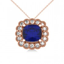 Blue Sapphire & Diamond Floral Cushion Pendant Necklace 14k Rose Gold (3.16ct)