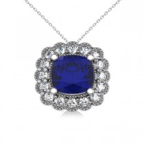 Blue Sapphire & Diamond Floral Cushion Pendant Necklace 14k White Gold (3.16ct)