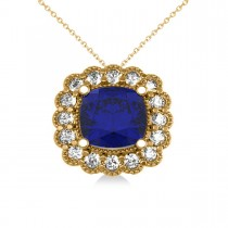 Blue Sapphire & Diamond Floral Cushion Pendant Necklace 14k Yellow Gold (3.16ct)