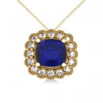 Blue Sapphire & Diamond Floral Cushion Pendant Necklace 14k Yellow Gold (3.16ct)