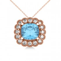 Blue Topaz & Diamond Floral Cushion Pendant Necklace 14k Rose Gold (3.28ct)