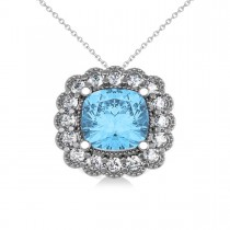 Blue Topaz & Diamond Floral Cushion Pendant Necklace 14k White Gold (3.28ct)