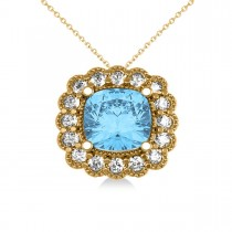 Blue Topaz & Diamond Floral Cushion Pendant Necklace 14k Yellow Gold (3.28ct)