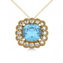 Blue Topaz & Diamond Floral Cushion Pendant Necklace 14k Yellow Gold (3.28ct)