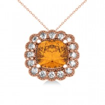 Citrine & Diamond Floral Cushion Pendant Necklace 14k Rose Gold (2.43ct)