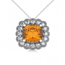 Citrine & Diamond Floral Cushion Pendant Necklace 14k White Gold (2.43ct)