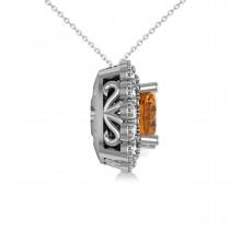 Citrine & Diamond Floral Cushion Pendant Necklace 14k White Gold (2.43ct)
