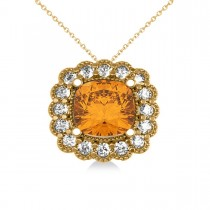 Citrine & Diamond Floral Cushion Pendant Necklace 14k Yellow Gold (2.43ct)