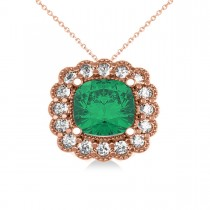 Emerald & Diamond Floral Cushion Pendant Necklace 14k Rose Gold (2.30ct)