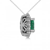 Emerald & Diamond Floral Cushion Pendant Necklace 14k White Gold (2.30ct)