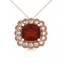 Garnet & Diamond Floral Cushion Pendant Necklace 14k Rose Gold (3.23ct)