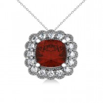 Garnet & Diamond Floral Cushion Pendant Necklace 14k White Gold (3.23ct)