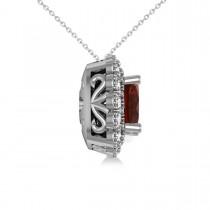 Garnet & Diamond Floral Cushion Pendant Necklace 14k White Gold (3.23ct)