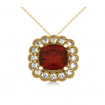 Garnet & Diamond Floral Cushion Pendant Necklace 14k Yellow Gold (3.23ct)